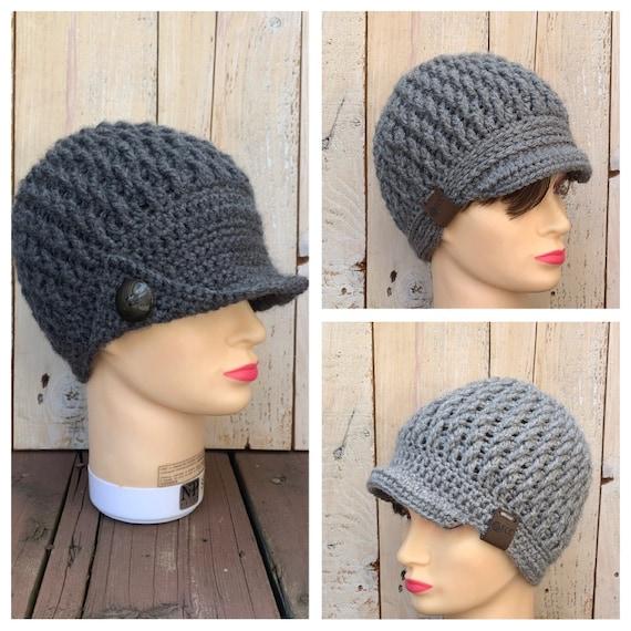 women/'s hat with flower warm hat women/'s hat with button crochet women/'s brim hat,newsboy hat crochet hat winter hat Handmade hat