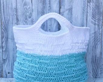 Crochet tote, crochet summer beach bag, white and teal summer bag, crochet summer tote, summer beach bag, summer beach purse, crochet beach