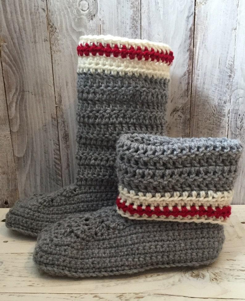 736475833 Work sock slipper boots crochet slippers crochet slipper