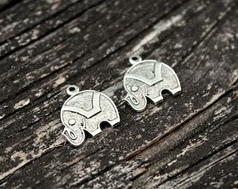 Antiqued Silver Brass Elephant Charm Pendants, 2pcs
