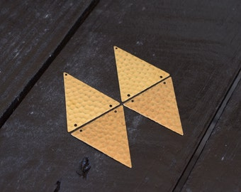 Raw Brass Geometric Hammered Triangle Pendants, 4pcs, Made in the USA