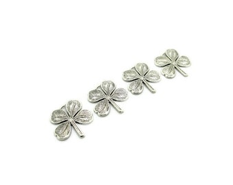 Silver Four 4 Leaf Clover Charms,4pcs