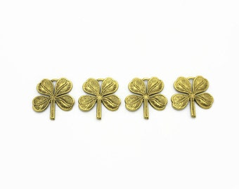 4 pcs Antiqued Gold Clover Charms,  Brass Charms