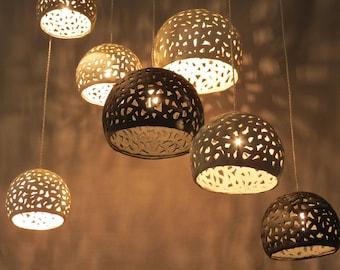 Pendant lights. Ceramic lighting. 7 ceiling shades. Hanging lights fixture. Ceiling lights. Modern chandelier. Ceramic lighting.