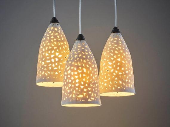 Lighting. 3 Porcelain pendant lights. Chandelier lighting. Ceiling lights.  Hanging lamps. kitchen lighting. Ceramic pendant lights