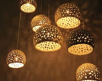 Pendant lights. Ceiling chandelier. Modern hanging light. Ceramic lighting fixture.Chandelier lighting. Hanging lampshades