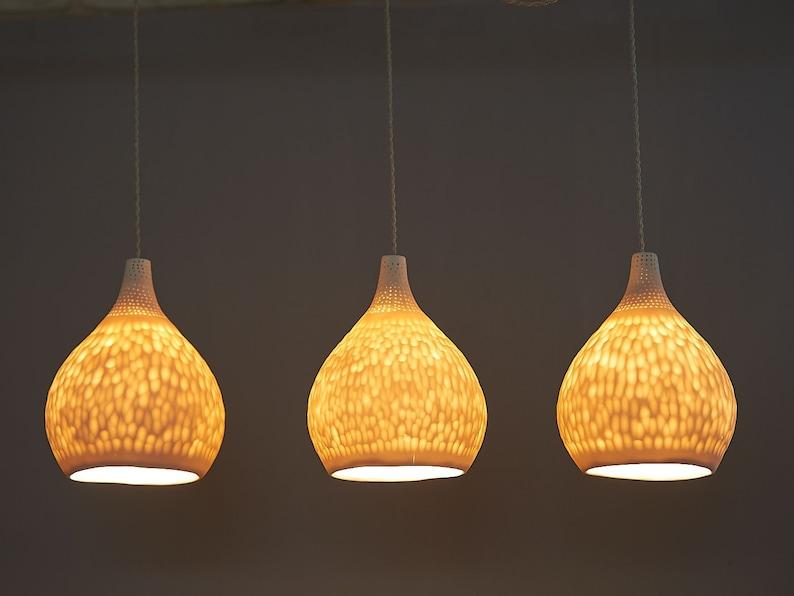 Hanger met lampen. verlichting kroonluchter. porselein hanger etsy