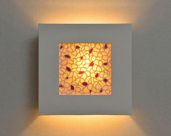 Modern Wall Sconce with Red Inserts. Square Porcelain and Ceramic Wall Lamp for the Living Room