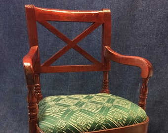 Doll Chair with Upholstered Seat Wood Frame 13 x 7 x 6-1/2