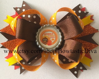 Thanksgiving Hair Bow, Turkey Hair Bow, Gobble Gobble Hair Bow, Fall Hair Bow
