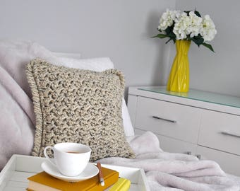 Marshmallow • Cushion • Crochet Chunky Knit • Colour: OATMEAL