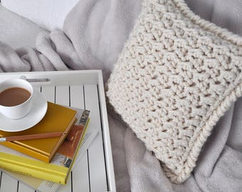 Marshmallow • Cushion • Crochet Chunky Knit • Colour: VANILLA