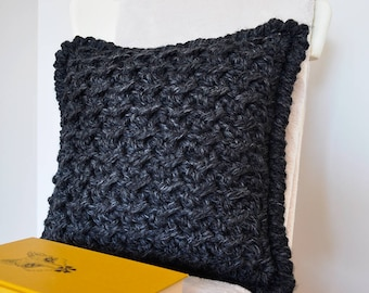Marshmallow • Cushion • Crochet Chunky Knit • Colour: CHARCOAL