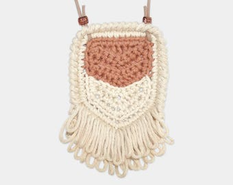 Chevron • Necklace • Crochet Pendant • Colour: SOFT FUDGE + VANILLA
