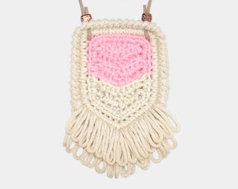 Chevron • Necklace • Crochet Pendant • Colour: BLUSH + VANILLA