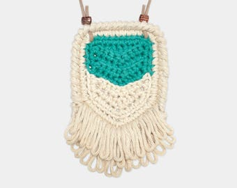Chevron • Necklace • Crochet Pendant • Colour: EMERALD + VANILLA