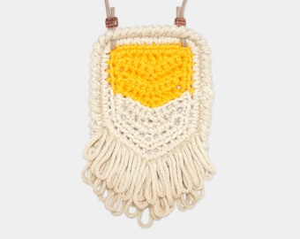 Chevron • Necklace • Crochet Pendant • Colour: MUSTARD + VANILLA