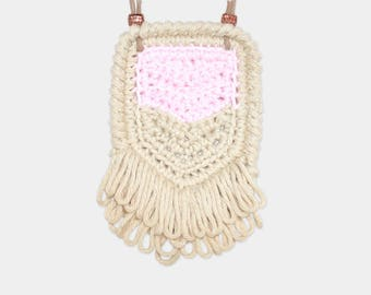 Chevron • Necklace • Crochet Pendant • Colour: CANDYFLOSS + VANILLA