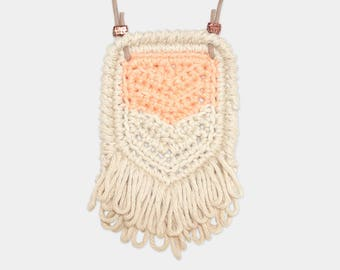 Chevron • Necklace • Crochet Pendant • Colour: PEACH + VANILLA