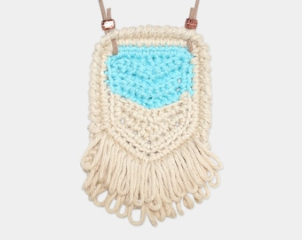 Chevron • Necklace • Crochet Pendant • Colour: TEAL + VANILLA