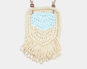 Chevron • Necklace • Crochet Pendant • Colour: SEAFOAM + VANILLA