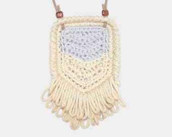Chevron • Necklace • Crochet Pendant • Colour: MISTY + VANILLA