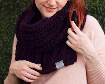 Fern • Open-Ended Scarf • Crochet Chunky Knit • Colour: BLACKBERRY