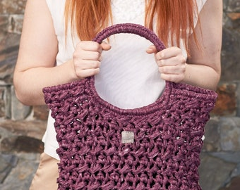 Acorn • Tote Bag • Crochet Chunky Knit • Colour: CURRANT