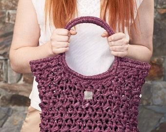 Acorn • Tote Bag • Crochet Chunky Knit • Colour: CURRANT