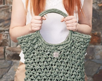 Acorn • Tote Bag • Crochet Chunky Knit • Colour: SAGE