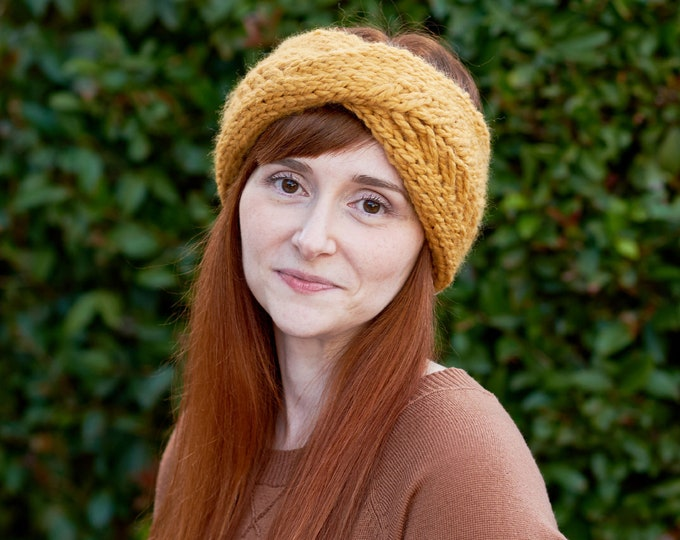 Featured listing image: Pine Ridge • Head Warmer • Chunky Knit • Colour: BUTTERSCOTCH