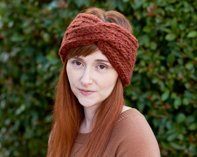 Featured listing image: Dewdrop • Head Warmer • Chunky Knit • Colour: CINNAMON