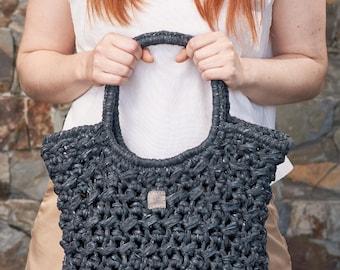 Acorn • Tote Bag • Crochet Chunky Knit • Colour: ELDERBERRY