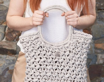 Acorn • Tote Bag • Crochet Chunky Knit • Colour: LYCHEE