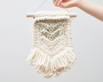 Chevron • Wall Hanging (SMALL) • Crochet Chunky Knit • Colour: OATMEAL + VANILLA