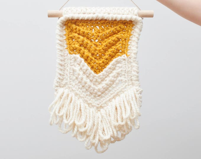 Featured listing image: Chevron • Wall Hanging (MEDIUM) • Crochet Chunky Knit • Colour: BUTTERSCOTCH + VANILLA