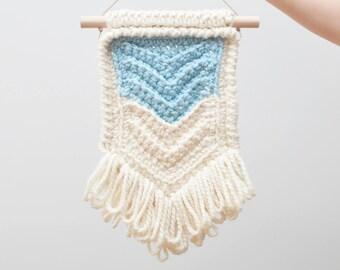 Chevron • Wall Hanging (MEDIUM) • Crochet Chunky Knit • Colour: BLUEBERRY + VANILLA