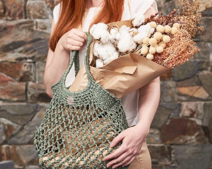 Featured listing image: Weaverbird • Market Bag • Crochet • Colour: SAGE