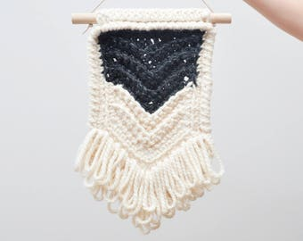 Chevron • Wall Hanging (MEDIUM) • Crochet Chunky Knit • Colour: CHARCOAL + VANILLA