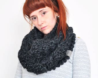 Cloud • Cowl • Crochet Chunky Knit • Colour: CHARCOAL