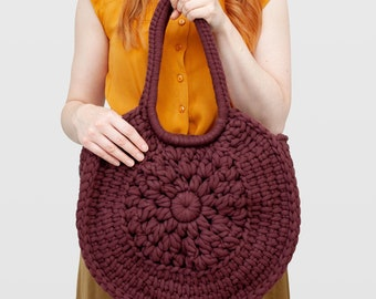 Sunburst • Tote Bag • Crochet Chunky Knit • Colour: ESPRESSO