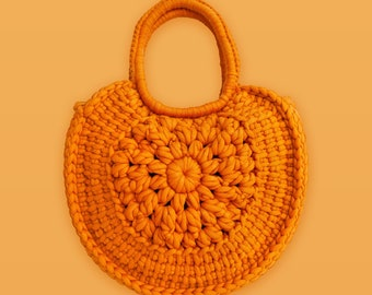 Sunburst • Tote Bag • Crochet Chunky Knit • Colour: AMBER