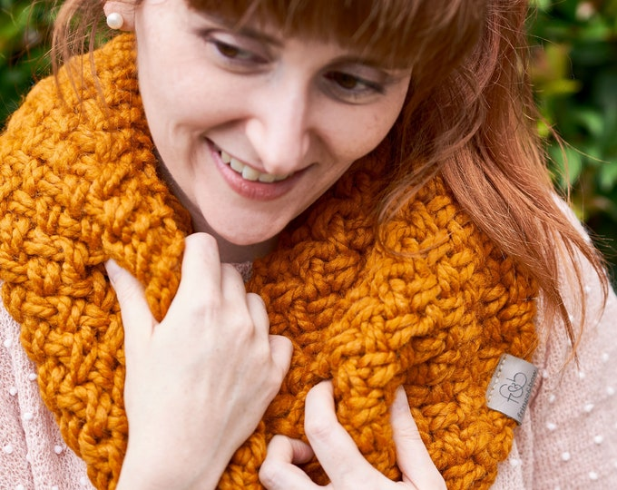 Featured listing image: Nested Herringbone • Infinity Scarf • Chunky Knit • Colour: TOFFEE