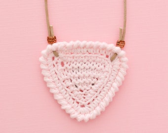Shortbread • Necklace • Knitted Pendant • Colour: BALLET PINK