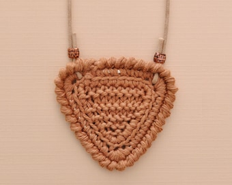 Shortbread • Necklace • Knitted Pendant • Colour: SOFT FUDGE