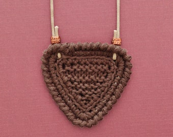 Shortbread • Necklace • Knitted Pendant • Colour: COFFEE