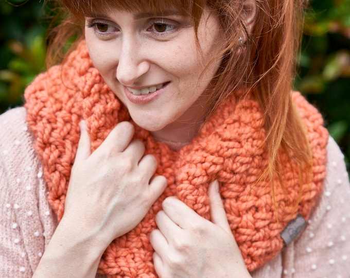 Featured listing image: Nested Herringbone • Infinity Scarf • Chunky Knit • Colour: GRAPEFRUIT
