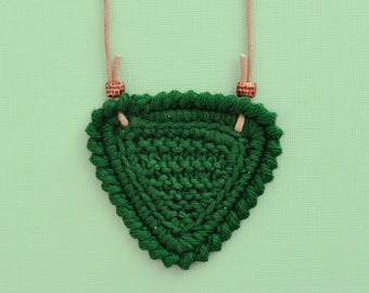 Shortbread • Necklace • Knitted Pendant • Colour: BOTTLE GREEN