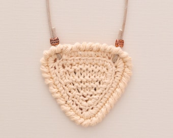 Shortbread • Necklace • Knitted Pendant • Colour: CUSTARD