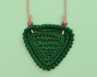 Shortbread • Necklace • Knitted Pendant • Colour: BOTTLE GREEN